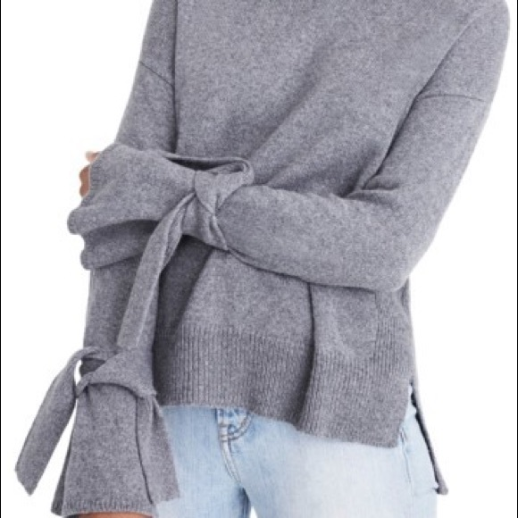 Madewell Sweaters - Madewell Tie Cuff Sleeves Pullover Sweater Gray M b58477387